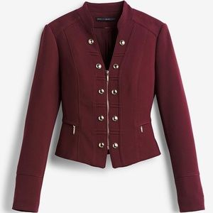 WHBM burgundy crop Military Jacket blazer EC